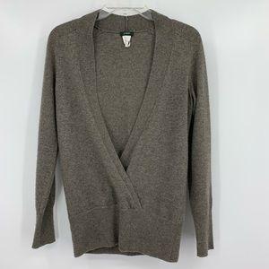 J. Crew Cashmere Blend Faux Wrap Grey Sweater